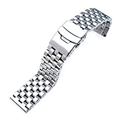 22mm Brushed Engineer Solid Link 316l Stainless Steel Watch Bracelet Band
