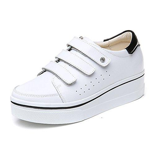 Senhoras Tênis Oco Respirável Lace-flat Sneakers Planalto De Outono Brancas