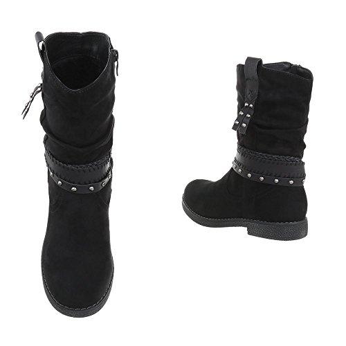 Chaussures femme Bottes et bottines Bloc Western- & Bikerbottes Ital-Design Noir