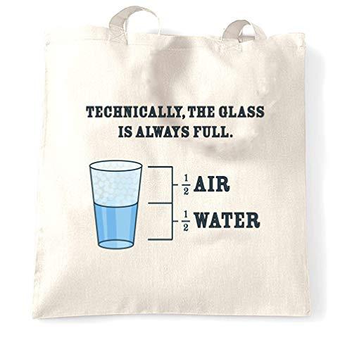 Tim And Ted Neuheit Philosophie Tragetasche Das Glas ist immer voll White One Size