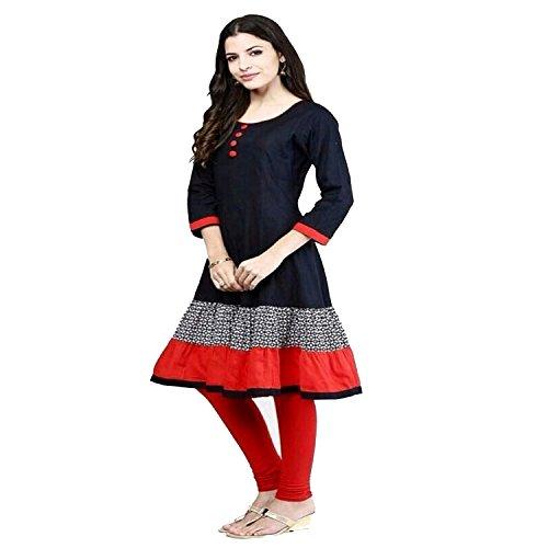 anarkali kurti(ZHot Fashion Kurti for Woman\'s Printed Polyester Cotton Kurti/Kurta (ZHKURTI1001B_FREE_Black)