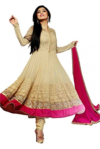 Bollywood Drashti Dhami Georgette Party Wear Anarkali Suit in Cream Colour