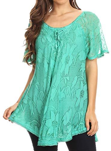 Bobopai Women Boho Stripe Sheer Chiffon Blouse Loose Batwing Sleeve T-Shirt Tunic Pullover Tops - Sheer Ruffle Shirt