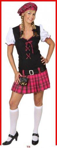 Scottish Girl pink : Kleid, Gürtel und Barett, Erwachsenen-Größe:42