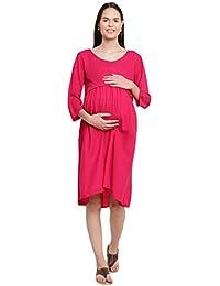 Mine4Nine Women's Rayon Maternity Midi Dress (Pink, MNDR5901)
