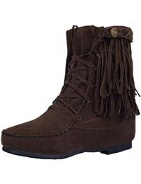YE Damen Flache Wildleder Stiefeletten mit Schnürung und Fransen Riemchen Bequeme  Ankle Boots Herbstschuhe 98b022a3ff