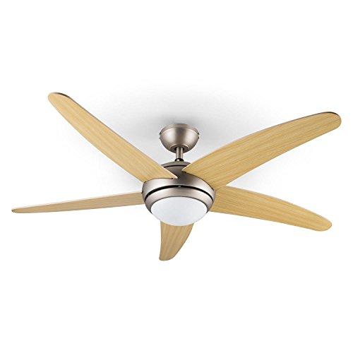 Klarstein Bolero Ventilatore Soffitto con lampada (134 CM, 55 Watt, telecomando) pale in acero