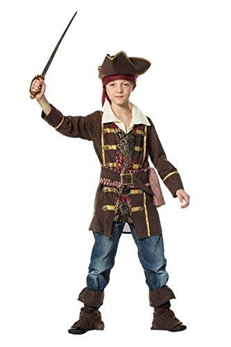 The Fantasy Tailors Piraten-Kostüm Jungen Oberteil Hut und Stiefel-Stulpen braun Kinderkostüm Pirat Freibeuter Karneval Fasching Hochwertige Verkleidung Fastnacht Größe 140 - Jungen Braun Kostüm Stiefel