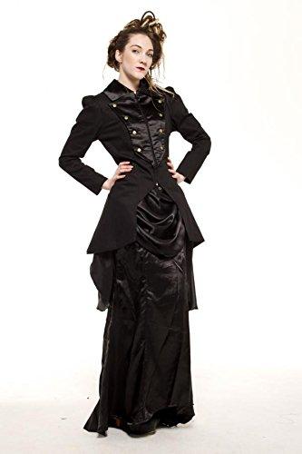 Longue veste noire de cabaret sobre gothique steampunk Noir