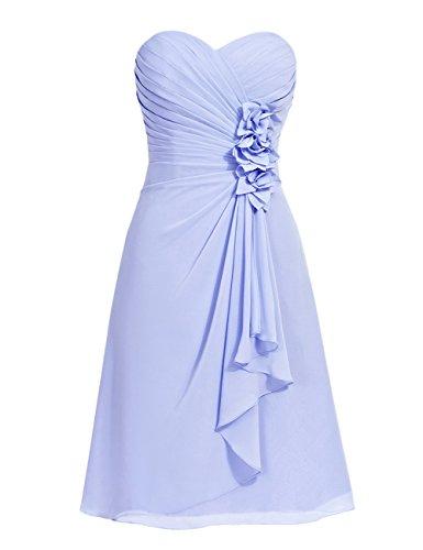 Dresstells, robe courte de demoiselle d'honneur mousseline Col en cœur Corail