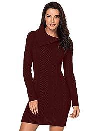 e8d8d468d Aleumdr Mujer Vestido de Punto con Botón Suéter Cuello Redondo Jerséis  Casual para Mujer Size S-L