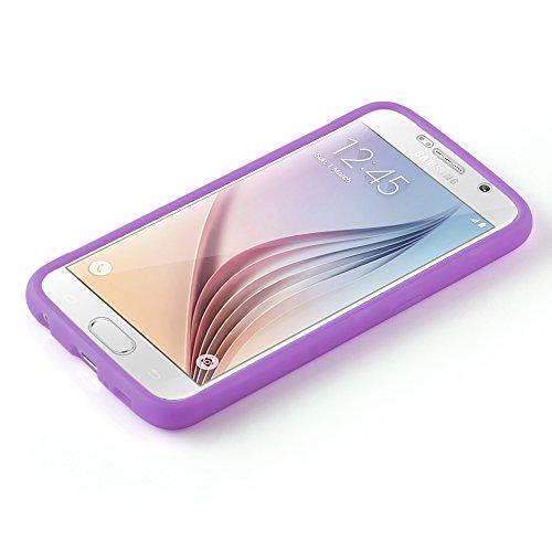 Cadorabo - TPU Silikon Schutz-Hülle (Full Body Rund-um-Schutz auch für das Display) für >               Samsung Galaxy S6               < in HOT-PINK FLIEDER-VIOLETT