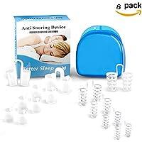 Xiton Dispositivos de ayuda para el sueño, 8 unidades, solución para ronquidos, dispositivos antironquidos profesionales, tapón de ronquidos, ventilaciones nasales que roncan para un mejor sueño