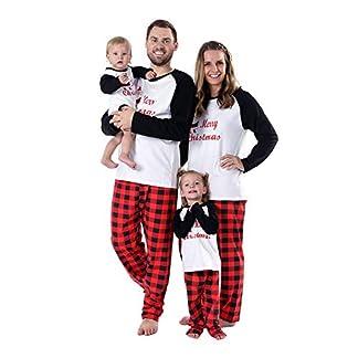 BOBORA Pijamas Familiares de Navidad, Conjunto de Ropa de Dormir de algodón Merry Christmas Papá Noel Estampado con Parte de Abajo de Rayas Pjs Conjunto para papá mamá y yo