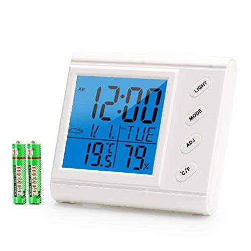 Digitales Thermo Hygrometer, Innen Hygrometer Thermometer mit Temperatur Luftfeuchtigkeit Messgerät, °C / °F Schalter, Großes Display, Hintergrundbeleuchtung und Wecker, Ideal für Schlafzimmer, Büro (Innen-luftfeuchtigkeit)