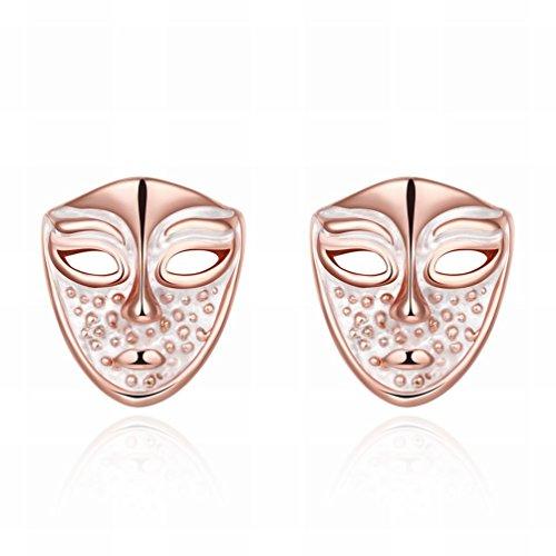 MOMO ein Paar Frauen Kleine und Exquisite Mode K Gold Maske Ohrringe Ohrringe Roségold Schmuck / Anti-allergie / Zirkonia Gemacht,Als (Maske Perle Onyx Feder)