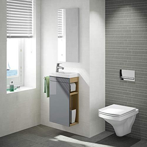 Gäste WC Badmöbel Set, WT Waschbecken mit Unterschrank in weiß oder anthrazit, Design Spiegel, Wandbefestigung - Unterschrank Set