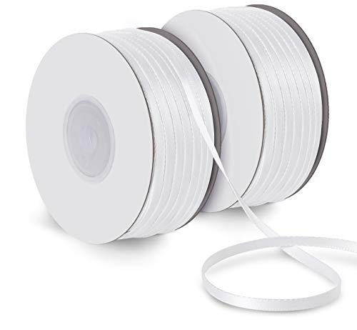 50M Doppelsatinband weiß 3mm Schleifenband Geschenkband Hochzeit Dekoband Geschenkband Antennenband ()