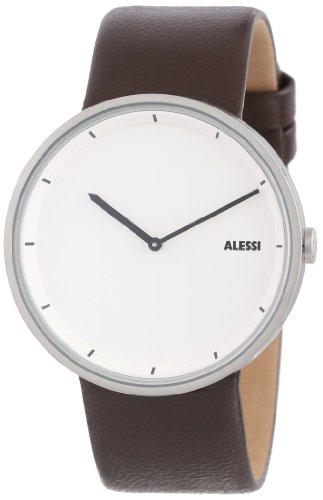 Alessi AL13001 - Reloj analógico de cuarzo para hombre, correa de cuero color marrón