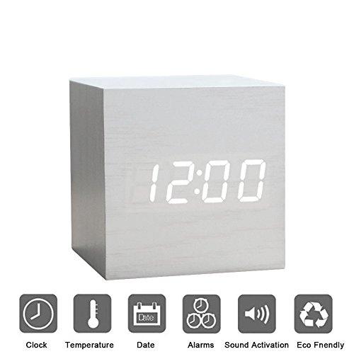Holz Wecker Digital LED Licht minimalistischen Mini Cube mit Datum und Temperatur Sound Control Schreibtisch Wecker für Reisen, Kinder Schlafzimmer, Zuhause, Büro-Weiß