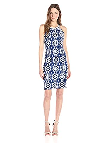 Nine West Women's Sleeveless a-Line Dress with Embellished Neckline, Riviera Combo, 6