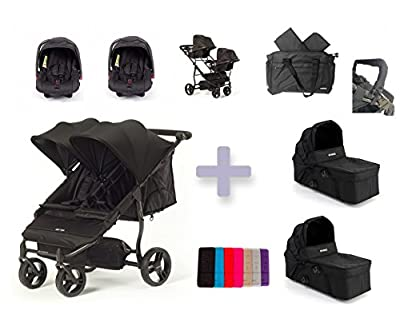 """Baby Monsters Silla gemelar EASY TWIN 2.0 + 2 capazos color negro ( Danielstore ) + 2 Grupo 0 + """" Adaptadores + Bolso gemelar + Barra gemelar + Dos colchonetas de regalo"""
