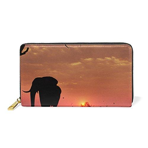 COOSUN Los elefantes Sunset Monedero de cuero del embrague de largo carpeta...