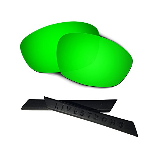 HKUCO Green Polarized Replacement Lenses plus Black Earsocks Rubber Kit For Oakley Straight Jacket£¨2007