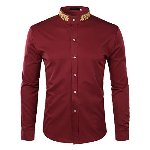 Mandarin Kragen Smoking Hemd (PARKLEES Mode Stickerei Hemd MännerHerbst Neue Mandarin Kragen Langarm Kleid Shirt Herren Slim Fit Hochzeit Smoking Shirts Männlichen)