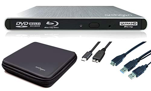 Archgon Style UHD Externer 4K-Ultra HD BD Player, Blu-ray BDXL Brenner für PC USB 3.0 / -C, M-Disk, Schutzbox, Alu Silber Portable Dvd Player Case