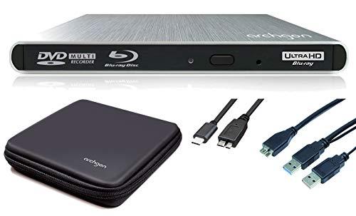 Archgon Style UHD Externer 4K-Ultra HD BD Player, Blu-ray BDXL Brenner für PC USB 3.0 / -C, M-Disk, Schutzbox, Alu Silber 7 Portable Dvd Player Case