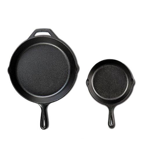 Lodge Seasoned Kochgeschirr-Set aus Gusseisen Bratpfannenset, 2-teilig (10,25 Zoll und 16,5 cm)