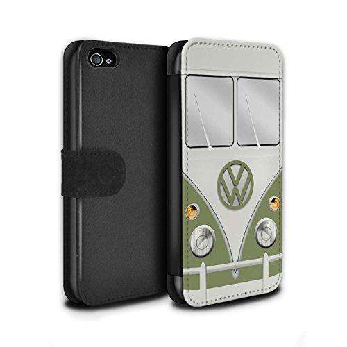 STUFF4 PU-Leder Hülle/Case/Tasche/Cover für Apple iPhone 4/4S / Türkisgrün Muster / Retro T1 Wohnmobil Bus Kollektion Mango Grün