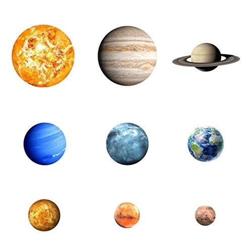 Trada Wandtattoo, 9pcs Neun Planet Mond Leuchtende Wandaufkleber Wasserdicht Planeten Moderner Abziehbild-Kunst AufkleberKinder im Dunkeln Leuchten Dekorative Decals