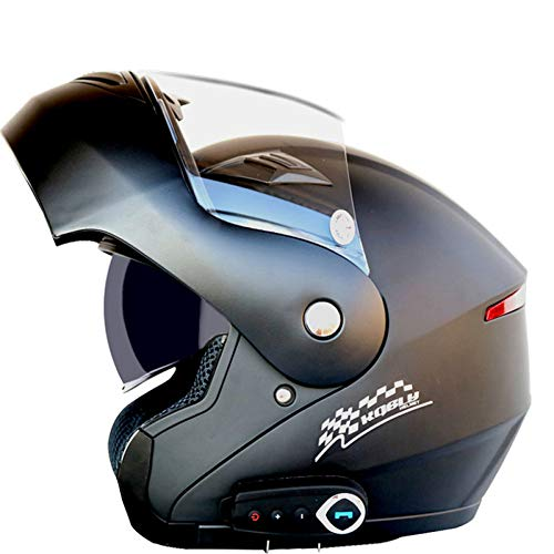 GETNOOG Motorradhelm Klapphelm Schwarz Mit Sonnenblende L-XXL Motorradhelm Schwarz Matt Herren 59-64cm Klapphelme Für Motorrad Integralhelm Helm,Matte Black+Bluetooth-L