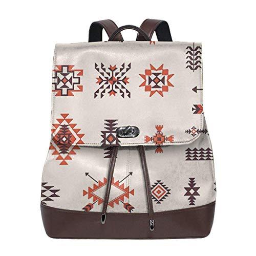 Flyup Women's Leather Backpack Navajo Native Americans Laptop Bag Fashion Casual Daypack Travel Shoulder Bag For Mens Frauen Leder Rucksack (Für Native American-kleidung Männer)