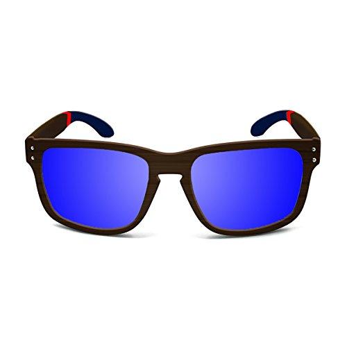 Paloalto Sunglasses Pacifica Sonnenbrille Unisex Erwachsene, Bamboo Brown/Blue/Red