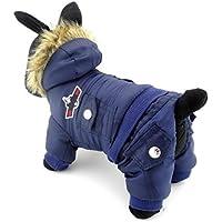 ZUNEA Airman pequeño perro mono de invierno con capucha de lana resistente al agua caliente mascota abrigo de perrito chaqueta de esquí traje de neopreno Chihuahua ropa trajes azul pequeño
