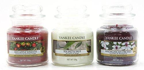 andle Starter Set Auswahl Box Geschenk Set von 3Signature Mini Kleine Marmeladengläser (Yankee Candle Red Apple Wreath)