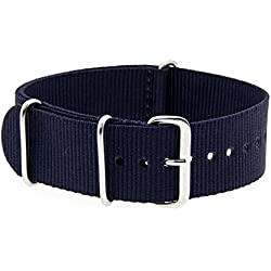 VK von Bura n01. com Military Nylon Watch Strap Dark Blue (Dark Blue) 20 mm Watch Strap Black