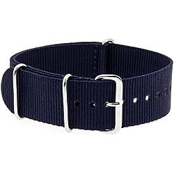 VK von Bura n01. com Military Nylon Watch Strap Dark Blue (Dark Blue) 20mm Watch Strap Black