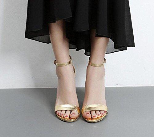 SHINIK Damen Open-Toe Crystal Transparente High Heel Schuhe Sandalen Bankett Schuhe Gold Silber Champagner Gold