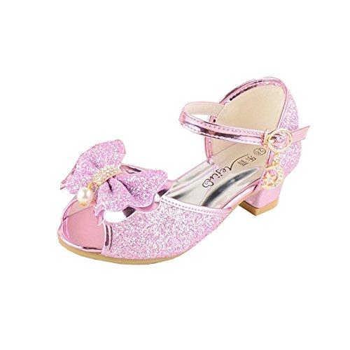 Kinder Mädchen Partei Kleid Schuhe Prinzessin Kristall Sequins Fersen Pumps (32/ Innenlänge 20cm, Rosa)