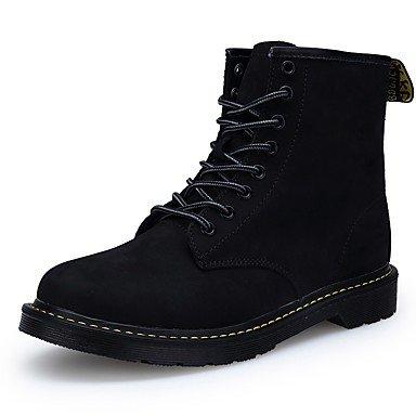 Rtry Femmes Chaussures Nabuck Pu Cuir Automne Hiver Confort Bottes D'équitation Bottes De Mode Bottes De Combat Talons Plats Fermé Toe Mi-mollet Bottes Ci Noir8 / Eu39 / Uk6 / Cn39 Us8.5 / Eu39 / Uk6.5 / Cn40