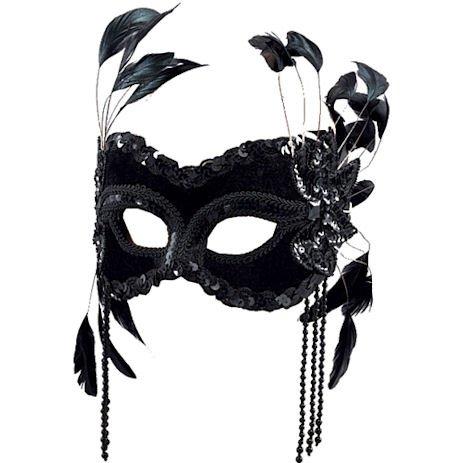 Maske für Maskenbälle, mit Befestigungsband, Samt, mit Kunstperlen, Schwarz (Masken Für Maskenbälle)