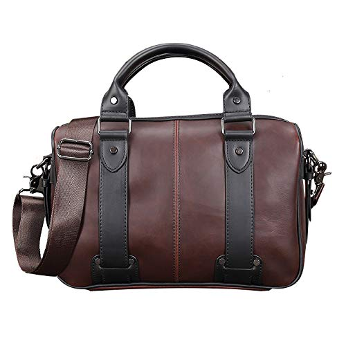 PANGOIE, Herren Leder Aktentasche Vintage Laptop Schulter Messenger Business-Handtasche,Coffee-OneSize
