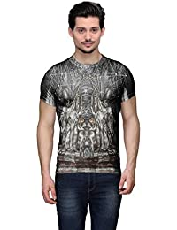 Wear Your Mind Multi-Coloured Poly Cotton Round Neck Printed T-shirt For Men CST158