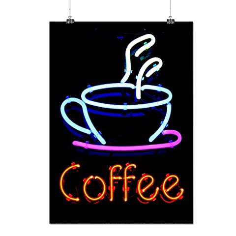 Coffee Neon Photo Food Cafe Logo Matte/Glossy Poster A3 (42cm x 30cm) | Wellcoda