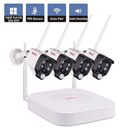 Tonton Full HD 1080P Wireless Audio 4CH NVR Überwachungssystem mit 4 Funkkamera, Plug& Play NVR System, PIR Bewegungsmelder, WLAN Kamera mit Audioübertragung Schnellzugriff über Smartphone und PC MAC - Pir-systems