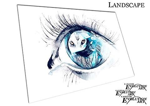 Aquarell Augen der Wolf, A2 - RUB